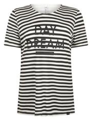Zoso striped shirt with print - 215 Jill - off white black
