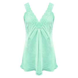 Top met kant v-hals licht groen / turquoise -  One Size