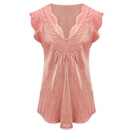 Satijnen Top met kant v-hals Oud roze -  One Size