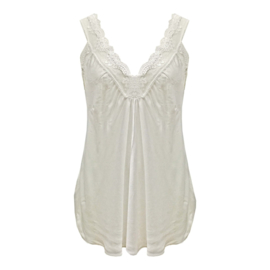 Top met kant v-hals off white -  One Size