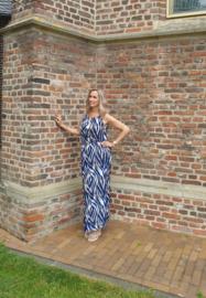 Zomer jurk maxi dress - zebra blauw One Size