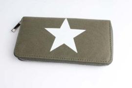 Dames portemonnee Canvas ster - groen