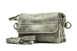 Bag2Bag dames schoudertas/clutch Quebec - grijs/taupe