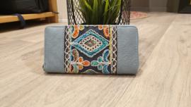 Portemonnee - blauw met geborduurde print