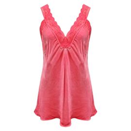 Top met kant v-hals Rood-roze-  One Size