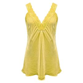 Top met kant v-hals geel -  One Size