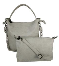 Eleganci / Eternel dames schoudertas / handtas bag in bag - lichtgrijs