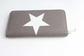 Dames portemonnee Canvas ster - grijs