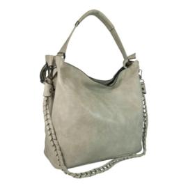 Eleganci / Eternel dames schoudertas / handtas bag in bag - lichtgrijs (geschuurd)