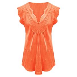 Satijnen Top met kant v-hals Oranje -  One Size