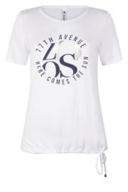 Zoso T-shirt mixed fabrics  - 213 Mixit white / navy