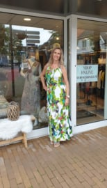 Zomer jurk maxi dress - White  groen One Size