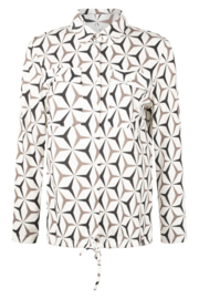 Zoso printed splendour blouse - 215 Petra - off white taupe