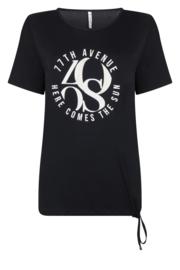 Zoso T-shirt mixed fabrics  - 213 Mixit navy white