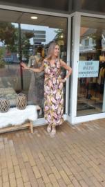 Zomer jurk maxi dress - Roze geel  One Size