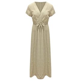 Zomer jurk Viscose   - Wit Groen Stip  One Size
