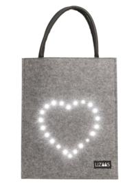 Lizaas - Verlichte schoudertas / shopper hart - grijs
