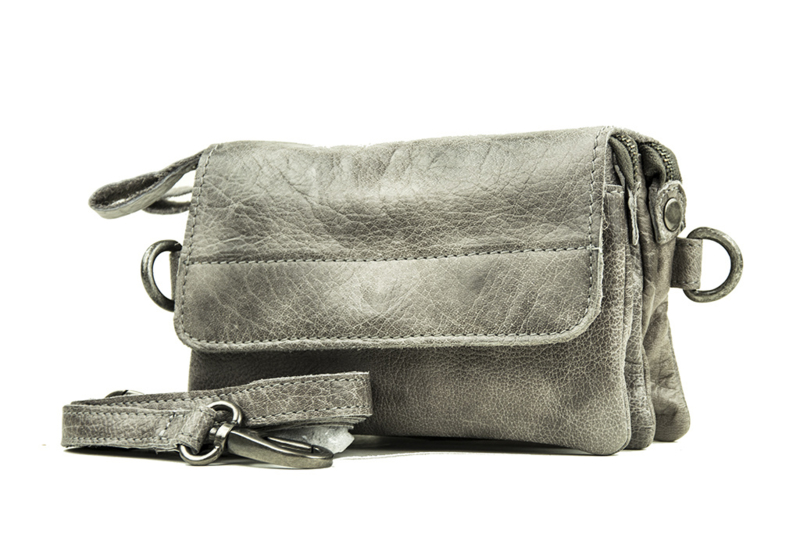 Bag2Bag dames schoudertas/clutch Quebec - grijs/taupe