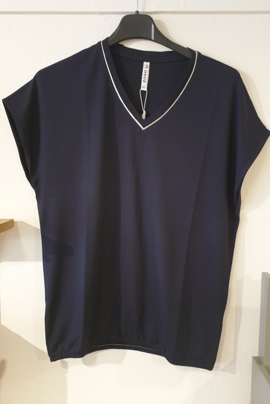 Zoso Luxury basic top with piping - 213 Nancy Navy
