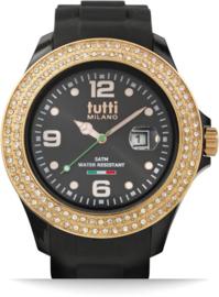 Tutti Milano Cristallo Horloge Zwart XL 48 mm