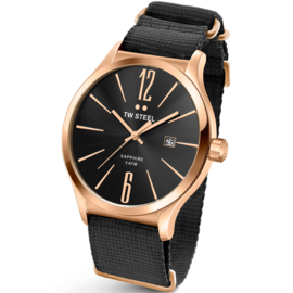 TW Steel TW1324 Slim Line Black Rose NATO Horloge 45mm