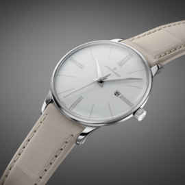 Junghans Meister Lady Quartz Horloge Zwart Alligator 30mm