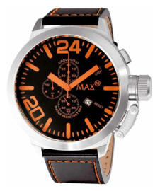 Max Watches XL Chronograaf Horloge RVS Oranje 47mm