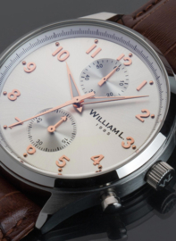 William L 1985 Vintage Style Small Chronograf Stahl Silber 40mm