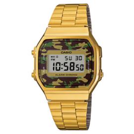 Casio Vintage Collection Horloge Camo Groen Goud A168WEGC-3EF 35mm