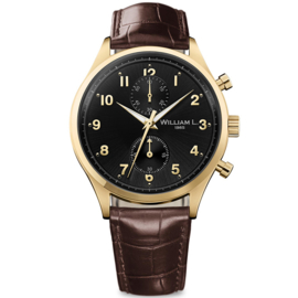 William L 1985 Vintage Style Small Chronograph Gold Schwarz 40mm