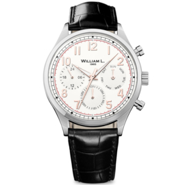 William L 1985 Vintage Style Calendar Stahl Creme 40mm