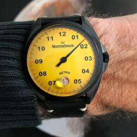 Meistersinger Metris Black Line Uhr Automat Mellow Yellow - 38mm
