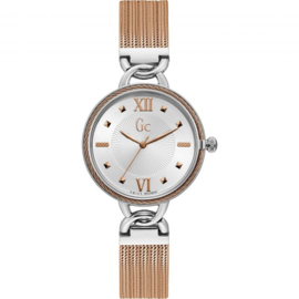 Gc: Guess Collection Twist Silver/Gold Dameshorloge Swiss Made 34mm