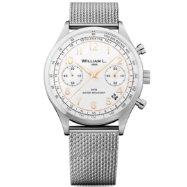 William L 1985 Vintage Style Chronograph Stahl Weiss 40mm