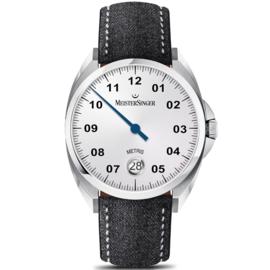 Meistersinger Metris Uhr Automat Opaline Silver - 38mm