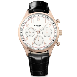 William L 1985 Vintage Style Calendar Rosegold Creme 40mm