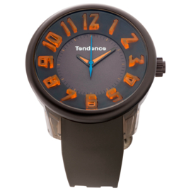 Tendence Fantasy Horloge Grey & Orange XXL