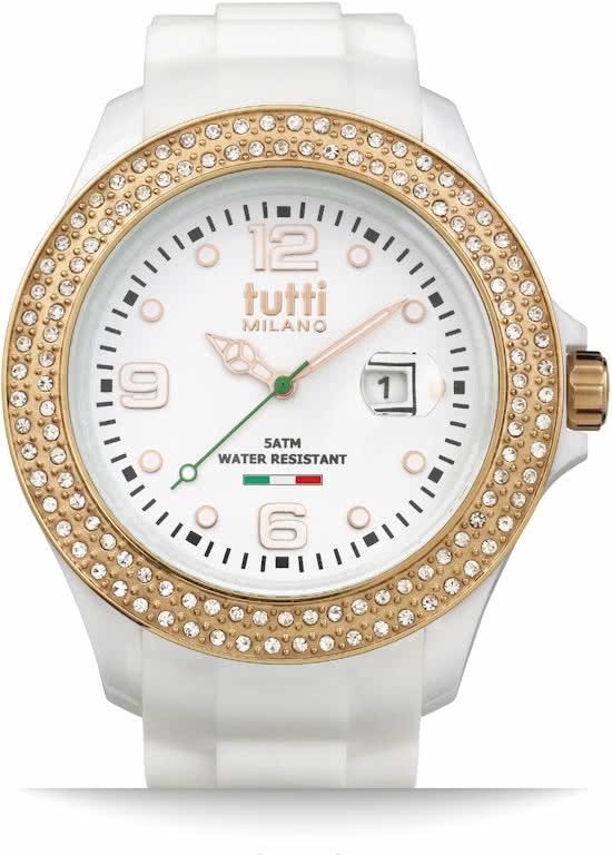 Tutti Milano Cristallo Horloge Wit XL 48mm