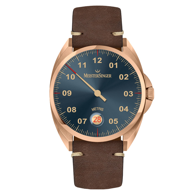 Meistersinger Metris Brons Horloge Automaat Steel Blue - 38mm