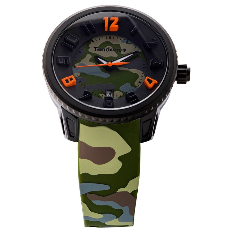 Tendence Gulliver Camouflage Horloge Green 10 ATM L