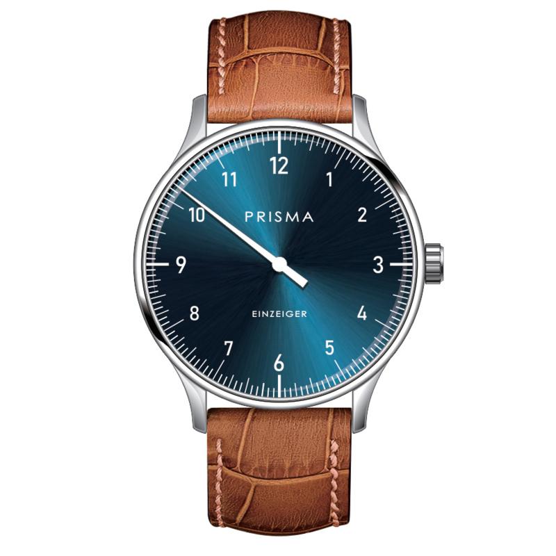 Prisma Design 'Einzeiger' Eenwijzerhorloge Blauw 40mm