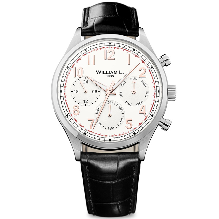 William L 1985 Vintage Style Calendar Staal Creme 40mm