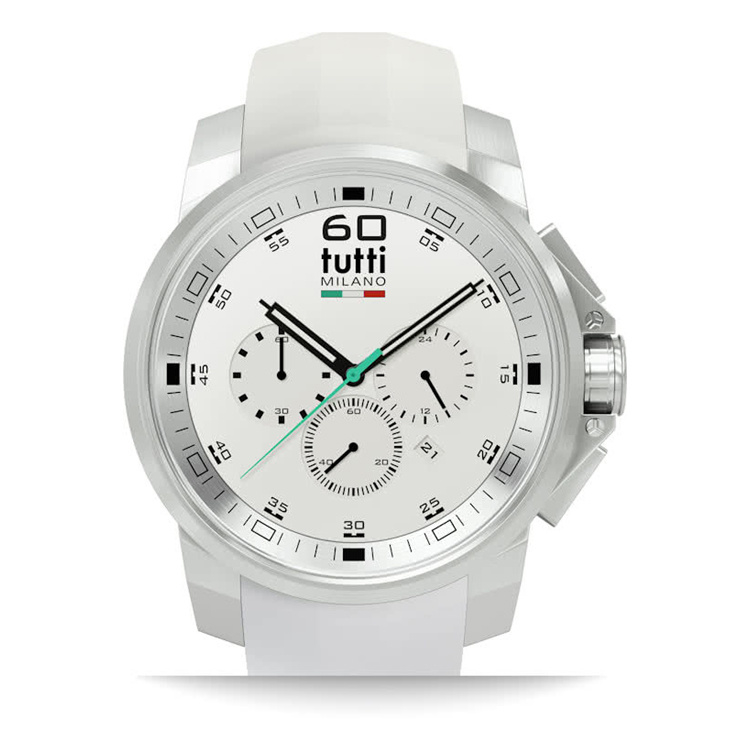 Tutti Milano Masso Chronograaf 44mm Staal/Wit