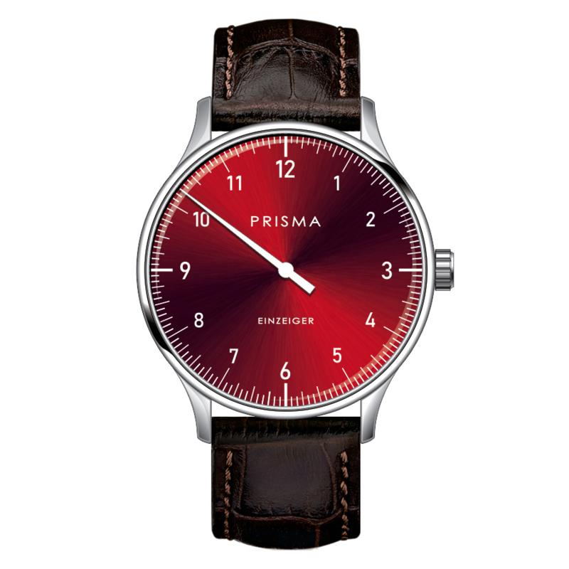 Prisma Design 'Einzeiger' Eenwijzerhorloge Rood 40mm