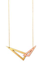 Dubbelzijdige geometrische halsketting goud- zalmroze