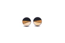 Ronde oorstekers zwart- goud- natuurkleur (12 mm)