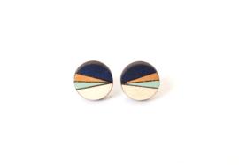 Ronde oorstekers donkerblauw- goud- munt- natuurkleur (12mm)