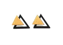 Driehoekige oorstekers goud-zwart