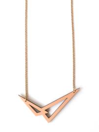Dubbelzijdige, geometrische halsketting nude- camel