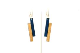 Oorhangers 2 staafjes - donkerblauw- goud